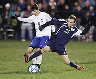 Susquehanna Valley's Mike Rood (21) battles Seth Scarano of Ichabod Crane for the ball during a Class B state semifinal game at Faller Field in Middletown on Saturday, Nov. 17, 2012.