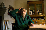 Francesco Guccini, singer and songwriter, at his home in Pavana, (Pistoia), Italy. © Carlo Cerchioli..Francesco Guccini, cantautore, nella sua casa a Pavana in provincia di Pistoia, Italia.