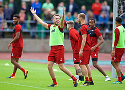 ROTTACH-EGERN, GERMANY - Friday, July 28, 2017: Liverpool's captain Jordan Henderson celebrates a goal during a training session at FC Rottach-Egern on day three of the preseason training camp in Germany. (Pic by David Rawcliffe/Propaganda)