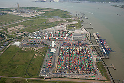 © Licensed to London News Pictures. 26/04/2016. Rochester, Kent, UK. London Thamesport is a container seaport on the River Medway, serving the North Sea. Grain Rd, Isle of Grain, Rochester  Photo credit: Martin Apps/LNP