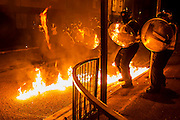 Public order, or riot, training takes place under realistic conditions, including stone, bottles and petrol bombs. All in a mock up urban landscape. Metropolitan Police Specialist Training Centre, Denton, <br />