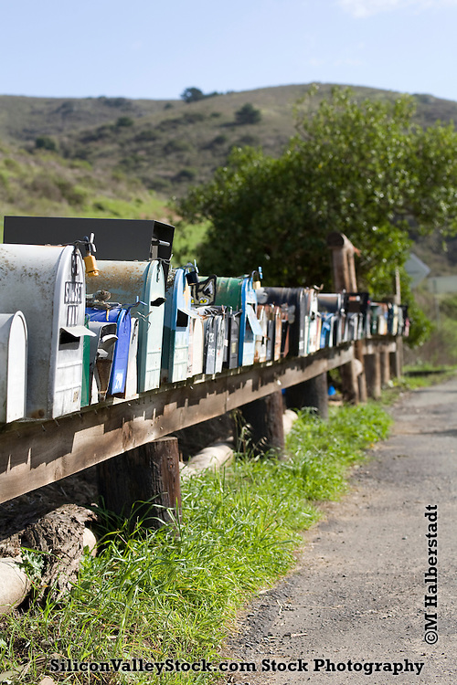 Row of mailboxes on Highway 1, Mill Valley, CA