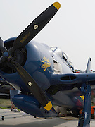 A Blue Angels Grumman F8F on display at the EAA Airventures Airshow, Oshkosh, Wisconsin.