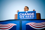 Barack Obama holds a campaign rally in Leesburg, Virginia.