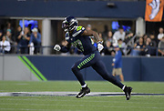 Aug 8, 2019; Seattle, WA, USA; Seattle Seahawks defensive back Marquise Blair (27) in the fourth quarter against the Denver Broncos at CenturyLink Field. The Seahawks defeated the Broncos 22-14.
