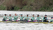 Hammersmith, GREATER LONDON. United Kingdom Cambridge University  Boat  Club, Pre Boat Race Fixture CUBC vs ITA M8+ for the 2017 Boat Race The Championship Course, Putney to Mortlake on the River Thames.<br /> <br /> Saturday  18/03/2017<br /> <br /> [Mandatory Credit; Peter SPURRIER/Intersport Images]<br /> CUBC<br /> <br /> [R-L], S. Henry Meek, 7. Lance Tredell,6. Patrick Eble,5. Aleksander Malowany, 4. Timothy Tracey, 3. James Letten, 2. Freddie Davidson, B. Ben Ruble and Cox. Hugo Ramambason