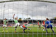 NIJMEGEN, NEC - Feyenoord, voetbal Eredivisie, seizoen 2013-2014, 15-09-2013, Stadion de Goffert, NEC speler Tobias Haitz (M) redt bij een kans voor Feyenoord speler Samuel Armenteros (2L), Feyenoord speler Graziano Pelle (L), NEC keeper Kalle Johnson (R).