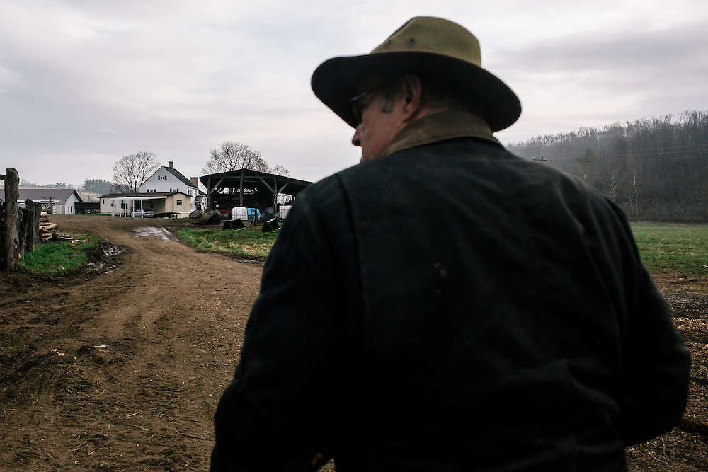 SWOOPE, VA - MARCH 26 After getting done with letting the checkens out, Pasture-based farmer Joel Salatin heads back to his house for breakfast at Polyface Farms in Swoope, Va. on March 26, 2015. Salatin is one of the heroes of the sustainable-food movement, and he appeals to both left- and right-wing audiences.  (Photo by Greg Kahn/GRAIN for The Washington Post)