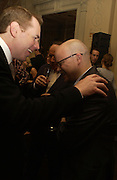Bret Easton Ellis and Toby Young. Party for Bret Easton Ellis's book 'Lunar Park'  given by Geordie Greig. Home House. Portman Sq. London.  London. 5 October 2005. . ONE TIME USE ONLY - DO NOT ARCHIVE © Copyright Photograph by Dafydd Jones 66 Stockwell Park Rd. London SW9 0DA Tel 020 7733 0108 www.dafjones.com
