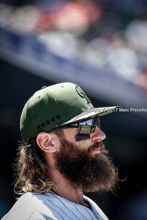 SHOT 5/28/17 12:08:46 PM - Colorado Rockies outfielder Charlie Blackmon #19 in the dugout during a regular season MLB game against the St. Louis Cardinals at Coors Field in Denver, Co. The Rockies won the game 8-4. (Photo by Marc Piscotty / © 2017)