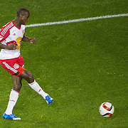 Nov 8, 2015; Harrison, NJ, USA; \New York Red Bulls forward Bradley Wright-Phillips (99) scores the game wing goal during the second half of the MLS Playoffs at Red Bull Arena. Mandatory Credit: William Hauser-USA TODAY Sports