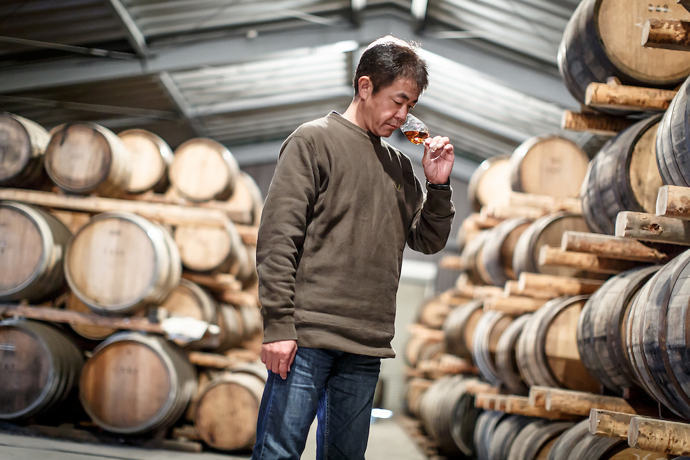 Chichibu Distillery founder Ichiro Akuto samples whisky at Chichibu Distillery in Chichibu, Saitama Prefecture, Japan, November 4, 2015. Gary He/DRAMBOX MEDIA LIBRARY