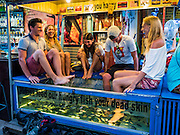 "03 JUNE 2016 - SIEM REAP, CAMBODIA: Tourists experience a ""Fish Massage"" at a street side massage parlor near Pub Street in Siem Reap, Cambodia. Pub Street is the center of Siem Reap's dining and nightlife.     PHOTO BY JACK KURTZ"