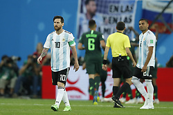 (l-r) Lionel Messi of Argentina, Gabriel Mercado of Argentina during the 2018 FIFA World Cup Russia group  D match between Nigeria and Argentina at the Saint Petersburg Stadium on June 26, 2018 in Saint Petersburg, Russia