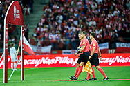 Warsaw, Poland - 2017 September 04: referee Andris Treimanis and his assistants referee Haralds Gudermanis and referee Aleksejs Spasjonnikovs all from Latvia walk on the pitch during soccer match Poland v Kazakhstan - FIFA 2018 World Cup Qualifier at PGE National Stadium on September 04, 2017 in Warsaw, Poland.<br /> <br /> Adam Nurkiewicz declares that he has no rights to the image of people at the photographs of his authorship.<br /> <br /> Picture also available in RAW (NEF) or TIFF format on special request.<br /> <br /> Any editorial, commercial or promotional use requires written permission from the author of image.<br /> <br /> Mandatory credit:<br /> Photo by © Adam Nurkiewicz / Mediasport