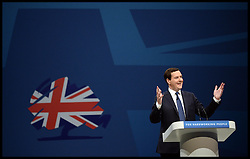 Chancellor of the Exchequer George Osborne during his speech at the Conservative Party Conference in Manchester, United Kingdom. Monday, 30th September 2013. Picture by Andrew Parsons / i-Images