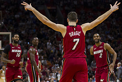 January 14, 2018 - Miami, FL, USA - Miami Heat guard Goran Dragic reacts after scoring a three-point shot in fourth quarter against the Milwaukee Bucks on Sunday, Jan. 14, 2018 at the AmericanAirlines Arena in Miami, Fla. (Credit Image: © Matias J. Ocner/TNS via ZUMA Wire)