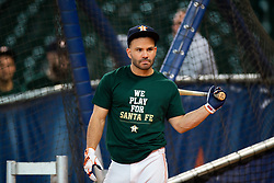 May 22, 2018 - Houston, TX, U.S. - HOUSTON, TX - MAY 22: Houston Astros second baseman Jose Altuve (27) and teammates wearing a shirt remembering the students and teachers killed at Santa Fe High School as the team takes batting practice prior to an MLB baseball game between the Houston Astros and the San Francisco Giants on May 22, 2018 at Minute Maid Park in Houston, Texas. (Photo by Juan DeLeon/Icon Sportswire) (Credit Image: © Juan Deleon/Icon SMI via ZUMA Press)