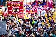 PCS members at the TUC demo at the Conservative party conference, Manchester. 4th October 2015