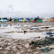 View of thea flooded muddy field in Idomeni where it has been raining non stop for the last few days.  Transit camp of Idomeni, Greece. <br /> <br /> Thousands of refugees are stranded in Idomeni unable to cross the border. The facilities are stretched to the limit and the conditions are appalling.