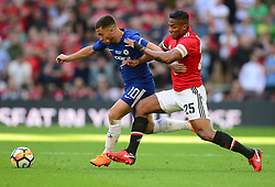 Eden Hazard of Chelsea battles for the ball with Luis Antonio Valencia of Manchester United - Mandatory by-line: Alex James/JMP - 19/05/2018 - FOOTBALL - Wembley Stadium - London, England - Chelsea v Manchester United - Emirates FA Cup Final