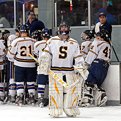 TOM KELLY IV - DAILY TIMES<br /> Springfield goalie Bryan Biehl (26) stands near the bench.  Penncrest takes on Springfield at Ice Works in Aston, Friday night December 2, 2014.
