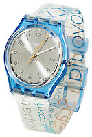 swatch watch clear and blue