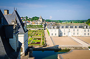 Courtyard and gardens, Chateau de Villandry, Villandry, Loire Valley, France