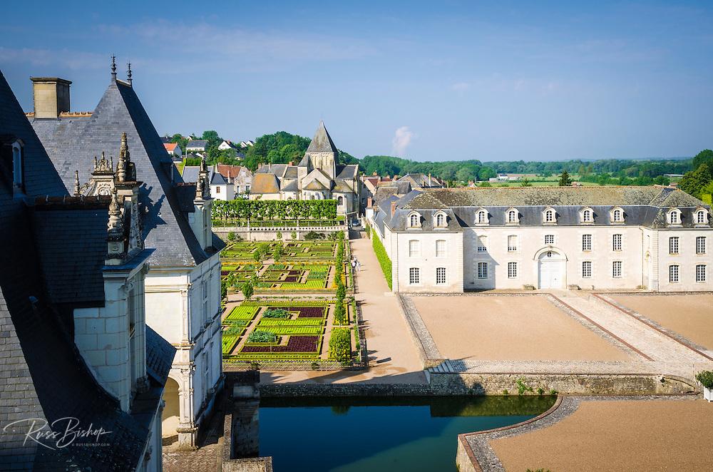 Courtyard and gardens, Chateau de Villandry, Villandry, Loire Valley, France