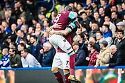 West Ham  (8) Cheikhou Kouyaté, West Ham  (7) Marko Arnautović, celebrate goal during the Premier League match between Chelsea and West Ham United at Stamford Bridge, London, England on 8 April 2018. Picture by Sebastian Frej.