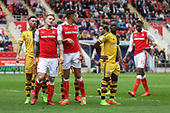 Players of both Rotherham United and Fulham prepare for a corner during the Sky Bet Championship match at the New York Stadium, Rotherham<br /> Picture by James Wilson/Focus Images Ltd 07709 548263<br /> 01/04/2017