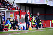 Crawley Town Manager Mark Yates gives thumbs up during the Sky Bet League 2 match between Crawley Town and Hartlepool United at the Checkatrade.com Stadium, Crawley, England on 19 March 2016. Photo by Jon Bromley.