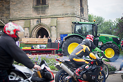 © Licensed to London News Pictures. 22/05/2017. Barnard Castle UK. The funeral of farmer Thomas Brown is taking place today at St Mary's church in Barnard Castle his funeral cortege is made up of hundred's of Motocross riders & his coffin is being carried on a tractor. The 27 year old died following a collision during a motocross race at Hardwick Motocross track at Low Hardwick farm on the 30th April. Photo credit: Andrew McCaren/LNP