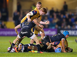 Jack Tovey of Bristol Rugby kicks the ball out of the hands of Jonathan Joseph of Bath Rugby earning himself a yellow card - Rogan Thomson/JMP - 20/10/2016 - RUGBY UNION - The Recreation Ground - Bath, England - Bath Rugby v Bristol Rugby - EPCR Challenge Cup.