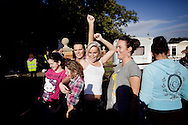 UNITED KINGDOM, Basildon :Residents from the traveller settlement at Dale Farm in Essex on September 19, 2011, celebrate after winning a last-gasp court injunction delaying their planned eviction  © Christian Minelli.