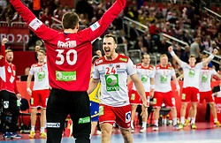 Torbjorn S.Bergerud of Norway and Christian OSullivan of Norway celebrate during handball match between National teams of Sweden and Norway on Day 7 in Main Round of Men's EHF EURO 2018, on January 24, 2018 in Arena Zagreb, Zagreb, Croatia.  Photo by Vid Ponikvar / Sportida
