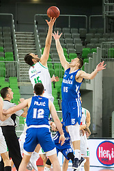 Mirza Begic of Petrol Olimpija vs Sreten Knezevic of KK Rogaska during 2nd leg basketball match between KK Petrol Olimpija and KK Rogaska in quarter final of  Pokal SPAR 2018/19, on January 14, 2019 in Arena Stozice, Ljubljana, Slovenia. Photo by Matic Ritonja / Sportida