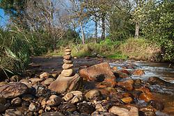 """A rock """"tower"""" near Lourens River in Radloff Park, in Somerset West, Western Cape, July 7, 2020. PHOTO: EVA-LOTTA JANSSON"""