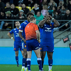 France's Mathieu Bastareaud reacts as Referee Angus Gardiner red cards France's Benjamin Fall during the Steinlager Series international rugby match between the New Zealand All Blacks and France at Westpac Stadium in Wellington, New Zealand on Saturday, 16 June 2018. Photo: Dave Lintott / lintottphoto.co.nz