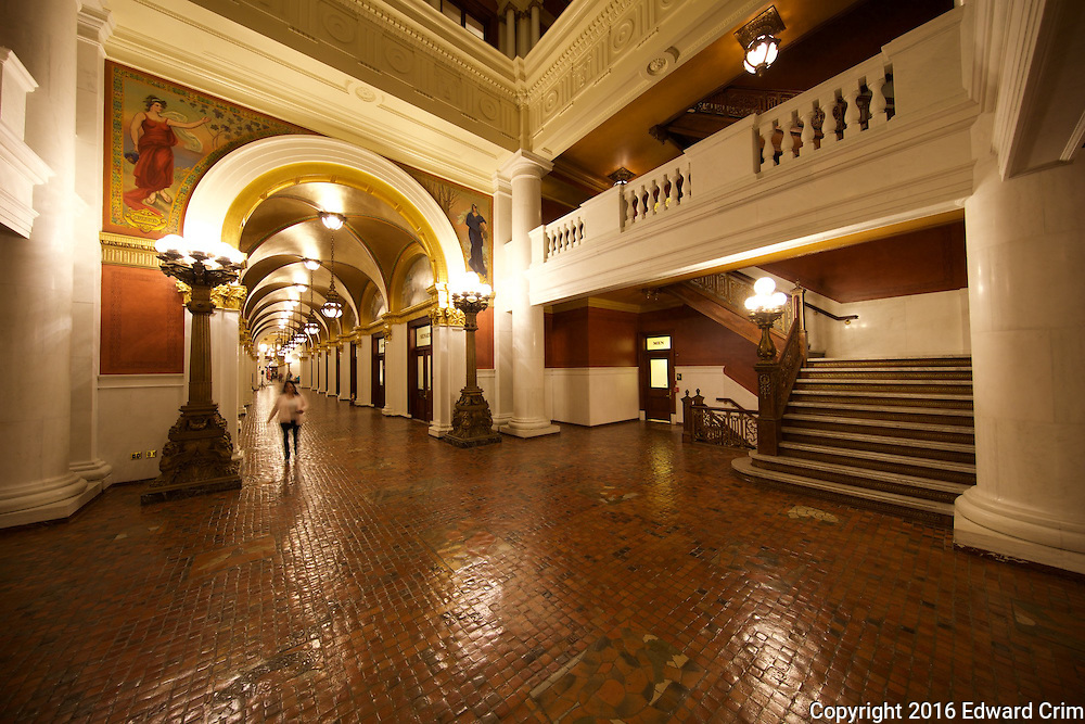 View of the north corridor from the bottom level of the north light court in the Pennsylvania capitol in Harrisburg.
