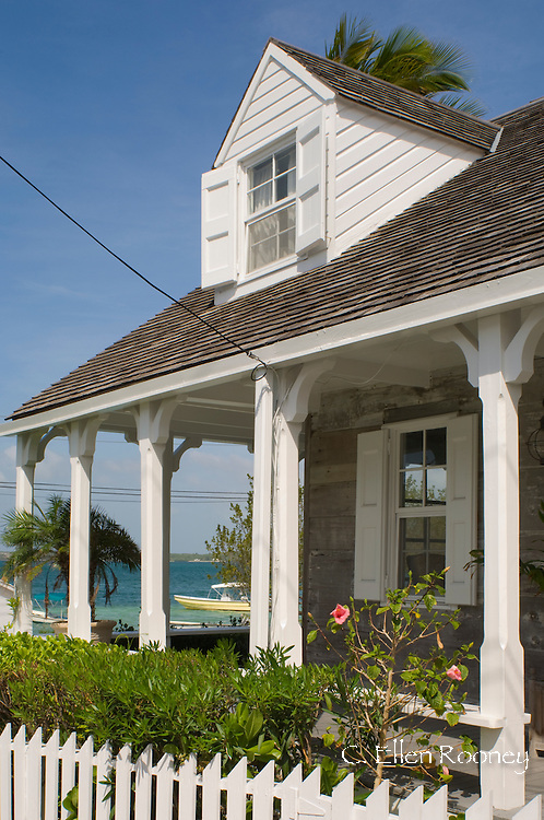A traditional clapboard house with picket fence in Dunmore Town, Harbour Island, The Bahamas