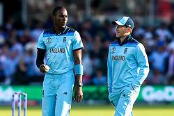 Jofra Archer of England talks to Eoin Morgan of England ahead of the Super Over against New Zealand - Mandatory by-line: Robbie Stephenson/JMP - 14/07/2019 - CRICKET - Lords - London, England - England v New Zealand - ICC Cricket World Cup 2019 - Final