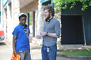 Actor Stephon Hunter (left) and director Bryan Reisberg at the filming of Big Significant Things at the Cedar Bucket near Oxford, Miss. on Thursday, May 9, 2013.