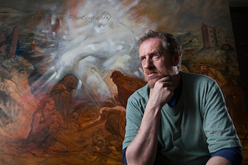 Artist, Peter Howson in his Glasgow studio.