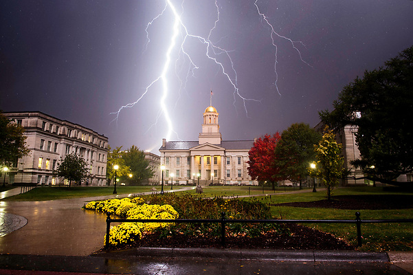 The Old Capitol during a thunderstorm with lightning