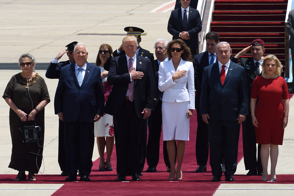 US President Donald Trump during an official welcoming ceremony on his arrival at Ben Gurion International Airport on May, 22 2017 near Tel Aviv, Israel. President Trump arrived to Israel to a two day visit, as part of his first trip abroad since being elected. Photo by Gili Yaari