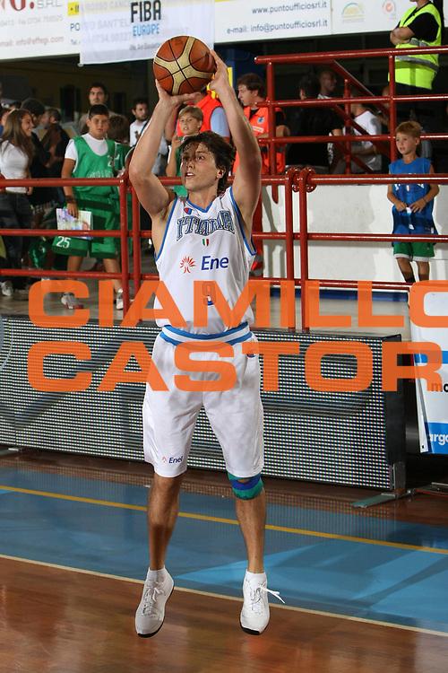 DESCRIZIONE : Porto San Giorgio Qualificazione Eurobasket 2009 Italia Ungheria<br /> GIOCATORE : Marco Mordente<br /> SQUADRA : Nazionale Italia Uomini <br /> EVENTO : Raduno Collegiale Nazionale Maschile <br /> GARA : Italia Ungheria Italy Hungary<br /> DATA : 10/09/2008 <br /> CATEGORIA : tiro<br /> SPORT : Pallacanestro <br /> AUTORE : Agenzia Ciamillo-Castoria/C.De Massis