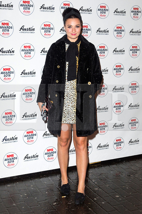 © Licensed to London News Pictures. 17/02/2016. LIZZY ERSKINE arrives at the NME Awards 2016 with Austin, Texas.  Previous winners of NME's Godlike Genius Award include Suede, Blondie, The Clash, Paul Weller, The Cure, Manic Street Preachers, New Order & Joy Division, Dave Grohl, Noel Gallagher and Johnny Marr.  London, UK. Photo credit: Ray Tang/LNP