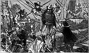 Henry Hudson (c1550-1611) English navigator, being set adrift with his son and seven others by mutinous crew.  Never seen again. Wood engraving c1880