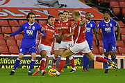 Barnsley FC midfielder Brad Potts (20) clears ball from Birmingham City midfielder Jose Ignacio Peleteiro Ramallo (27) during the EFL Sky Bet Championship match between Barnsley and Birmingham City at Oakwell, Barnsley, England on 4 November 2017. Photo by Ian Lyall.